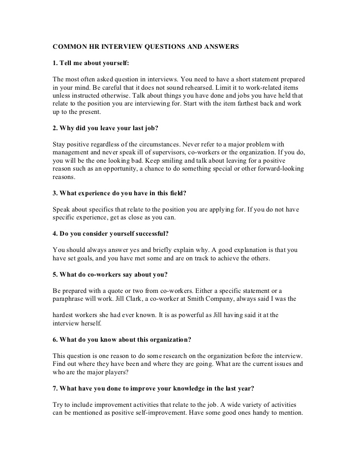 50 Common Interview Questions Answers PDF