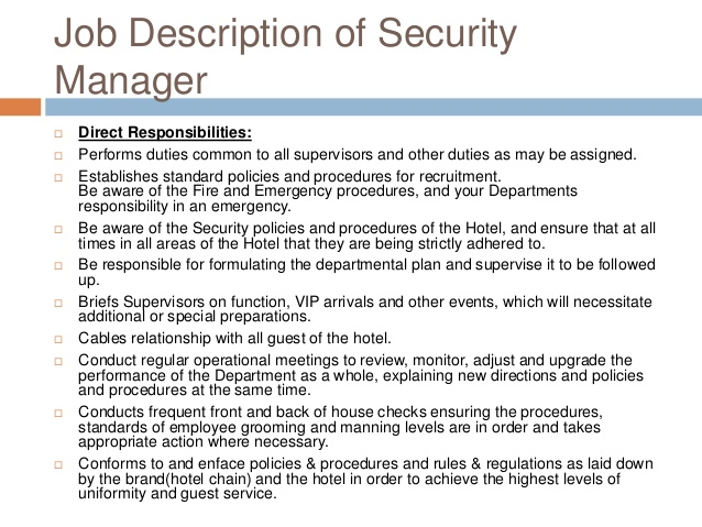 Job Description Security Manager  Security Guards Companies